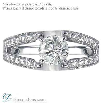Split band engagement ring with round diamonds