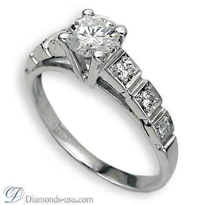 Round side stones engagement ring