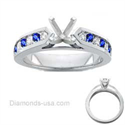 Picture of Engagement ring, Round Diamonds & Sapphires