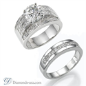 Picture of Wide engagement ring settings, with Princess