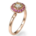 Picture of Rose Gold With Pink Sapphires Halo engagement ring