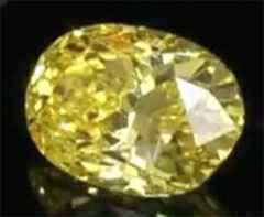 Picture of 1 Carats, Oval Diamond with Very Good Cut, Fancy Vivid Yellow Color, SI1 Clarity and Certified By EGS/EGL