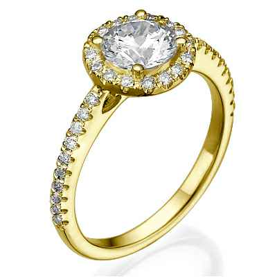 Classic Halo engagement ring for all shapes,with 1/4 carat side diamonds