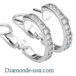 3 Carat Princess diamonds channel hoop earrings