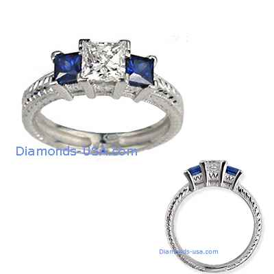 Vintage 3 stones engagement ring, hand engraved & Sapphires
