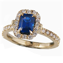 Picture of 1.12 carat Blue Sapphire Emerald with 1/3 Ct diamonds