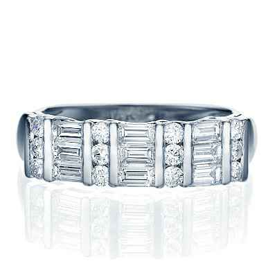 0.88 carat Baguettes and rounds diamond band