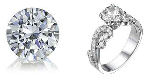 Round cut diamonds, loose and set