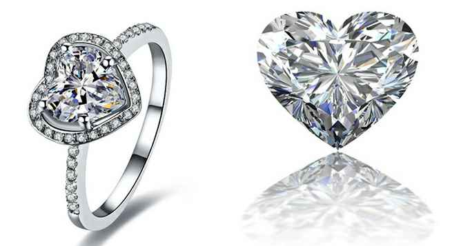 Heart diamond, loose and set in halo engagement ring