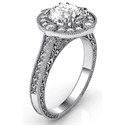 Picture of Vintage Round Princess &  Cushion Halo diamond engagement ring