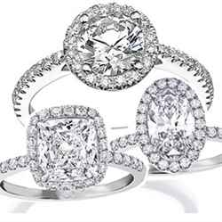 Oval diamond in halo engagement rings