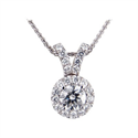 Picture of Halo diamonds Pendant 3/4 carat sides.