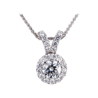 Halo diamonds Pendant 3/4 carat sides.