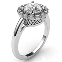Picture of Vintage style Halo head diamonds engagement ring