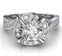 Picture of Crossing bands designers Halo engagement ring, 0.36 cts sides