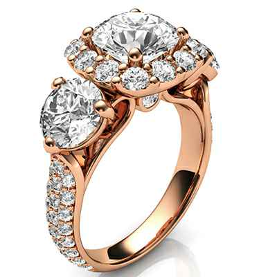 Round cut three stone diamonds engagement ring