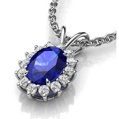 Cluster pendant with 0.90 carat Oval Sapphire