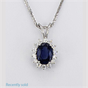 Picture of Cluster pendant with 0.90 carat Oval Sapphire