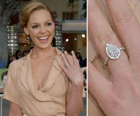 Katherine Heigel's showing her Halo Pear shaped diamond ring