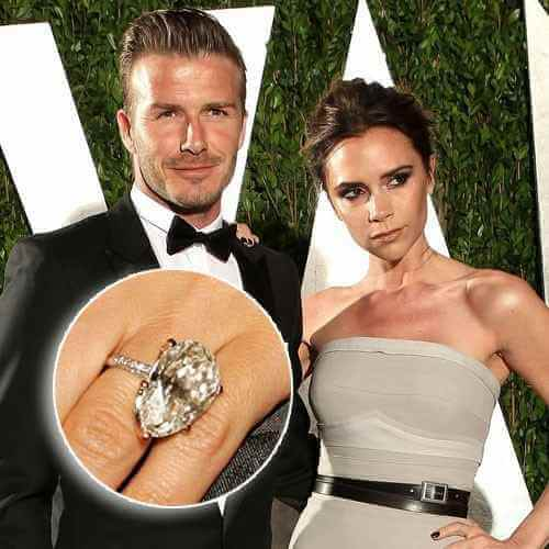 The Beckhams showing her Pear shaped diamond engagement ring