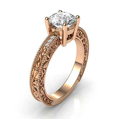 Engagement ring with side diamonds, filigree designs model, basket head