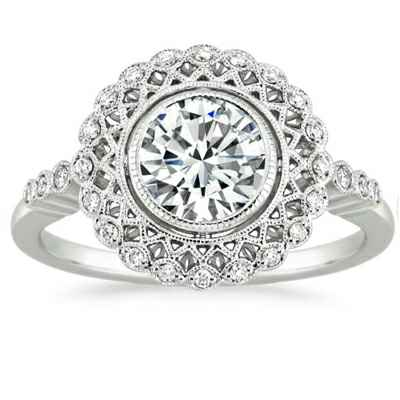 Art deco Halo designers Engagement ring