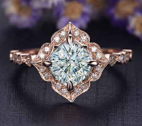 Low profile Art deco replica Halo engagement ring`for Rounds Cushions and Princess diamonds