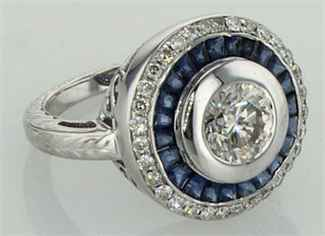 Vintage halo ring with diamonds and Sapphires around a center diamond
