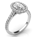 Picture of Delicate halo for Ovals, Marquises and Pears, 1.5 mm band, 1/3 carat side diamonds Micro-Paved set