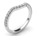 Picture of Matching wedding band for delicate oval diamond halo engagement ring
