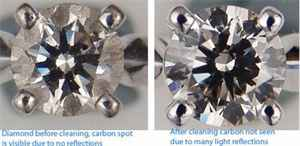 Diamond set in a ring top view, before and after cleaning, carbon spot visible only before.