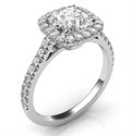 Picture of Delicate Cushion diamond halo for Cushion engagement ring