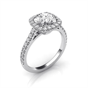 Picture of Delicate Cushion diamond halo for Rounds engagement ring