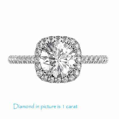 Delicate Cushion diamond halo for Rounds engagement ring