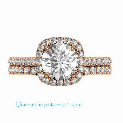 Delicate Cushion halo for Rounds bridal set