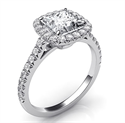 Picture of Delicate Cushion diamond halo for Princess engagement ring