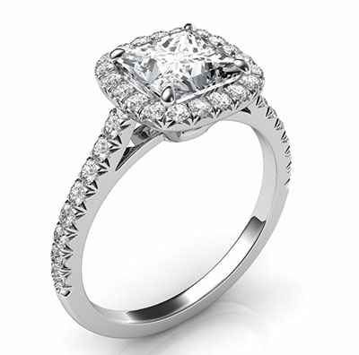 Delicate Cushion diamond halo for Princess engagement ring
