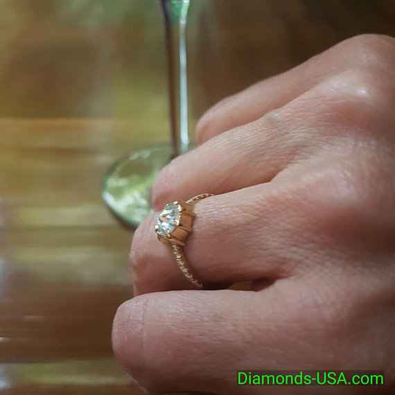 One of a kind Engagement ring with Rose cut natural diamond