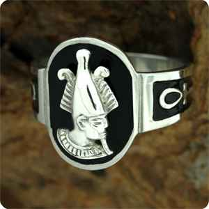 Osiris and Ra Egyptian protectors on a ring with black enamel