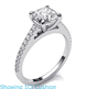 Picture of Delicate engagement ring for Cushions and Princess, with side diamonds