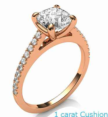 Delicate engagement ring for Cushions and Princess, with side diamonds