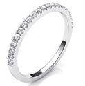 Picture of Delicate wedding band, half way diamonds, 1.50 mm width