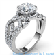Picture of Swirl eternity Halo Low/High profile engagement ring, 0.46 carat side natural diamonds