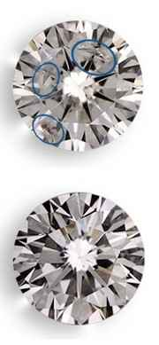 clarity enhanced diamonds, on top is before enhancement, on bottom after enhancement they are invisible