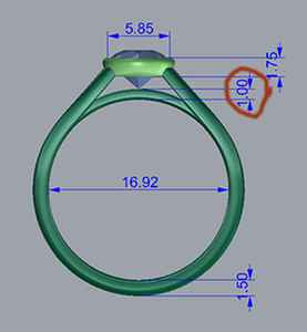 Bezel set side view diagram of low profile