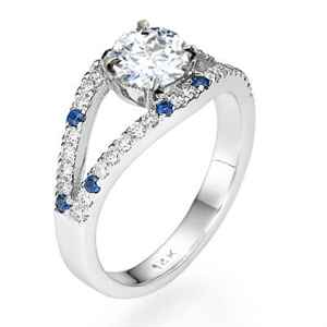 Basket set   low profile engagement ring with split band