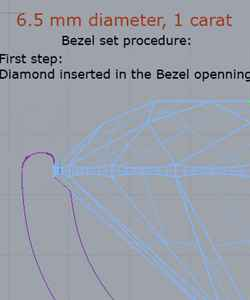Bezel set procedure step one, diamond inserted in the pit.