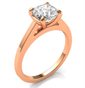 Picture of Rose Gold Delicate solitaire engagement ring for Cushions and Princess diamonds