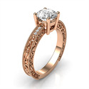 Picture of Filigree Rose Gold Engagement ring with side diamonds, filigree designs model, basket head