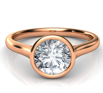 Delicate Low Profile bezel engagement ring for rounds-Leone